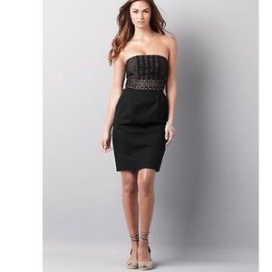 LOFT Black Eyelet Strapless Dress Pockets